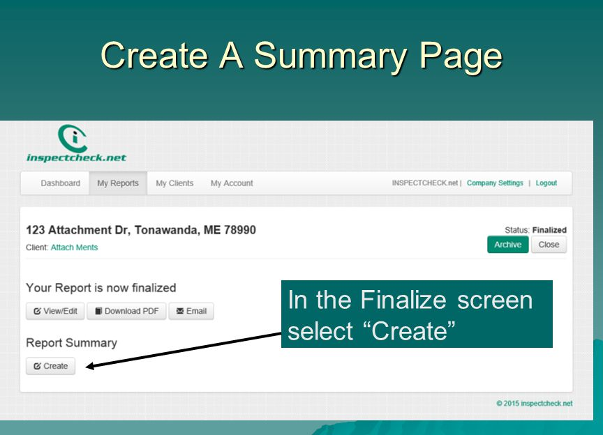 Create A Summary Page In the Finalize screen select Create