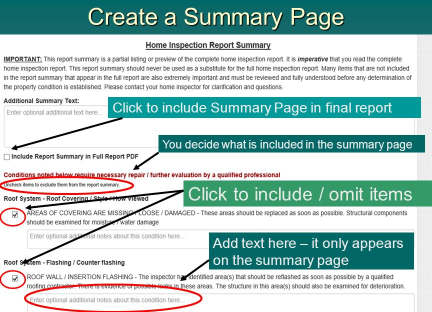 Create a Summary Page Click to include / omit items