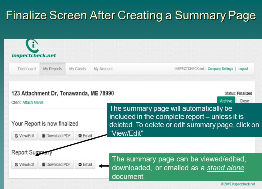 Finalize Screen After Creating a Summary Page