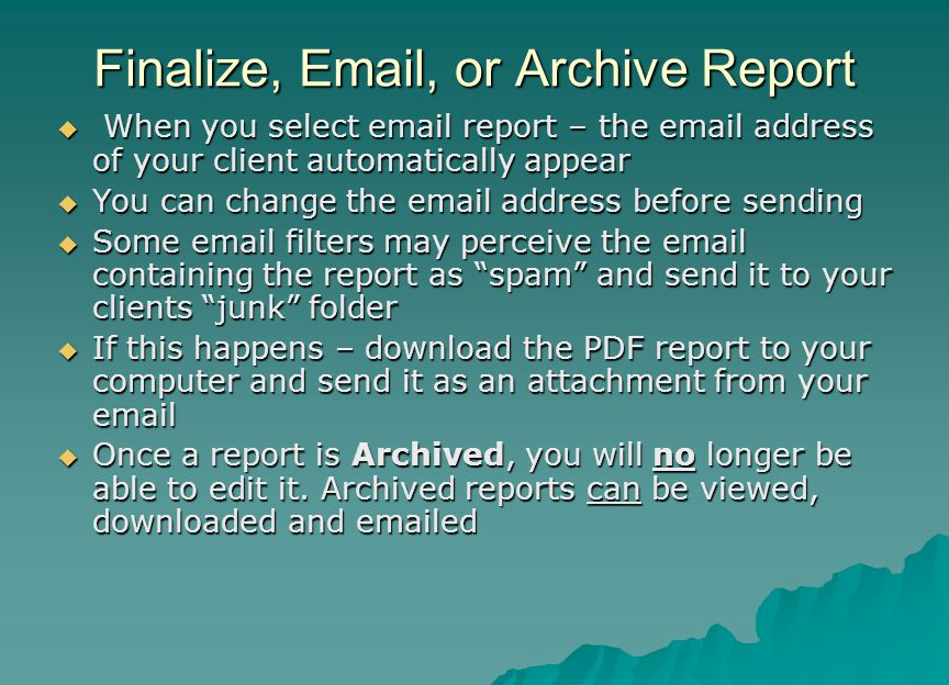 Finalize, Email, or Archive Report