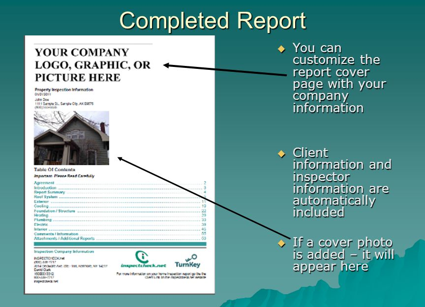 Completed Report You can customize the report cover page with your company information.