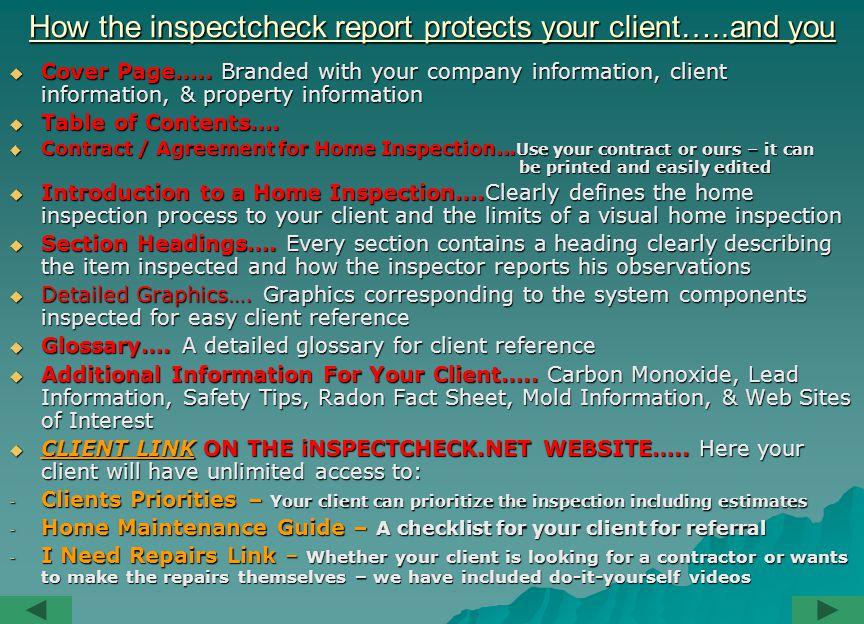 How the inspectcheck report protects your client…..and you