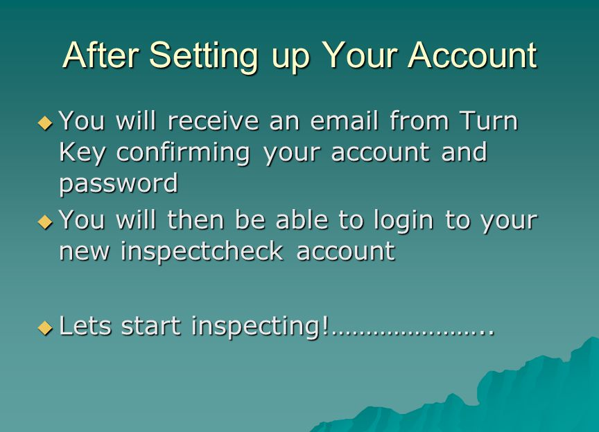 After Setting up Your Account