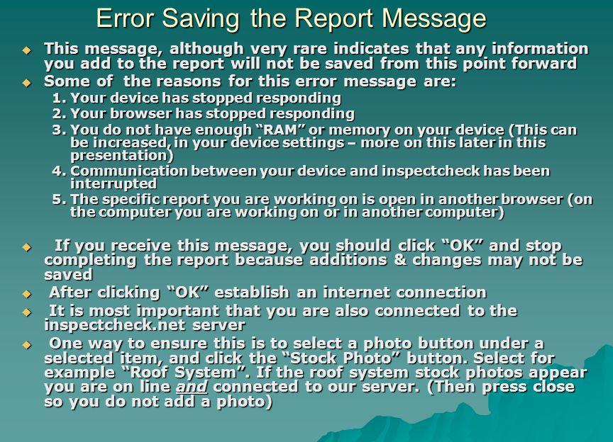 Error Saving the Report Message
