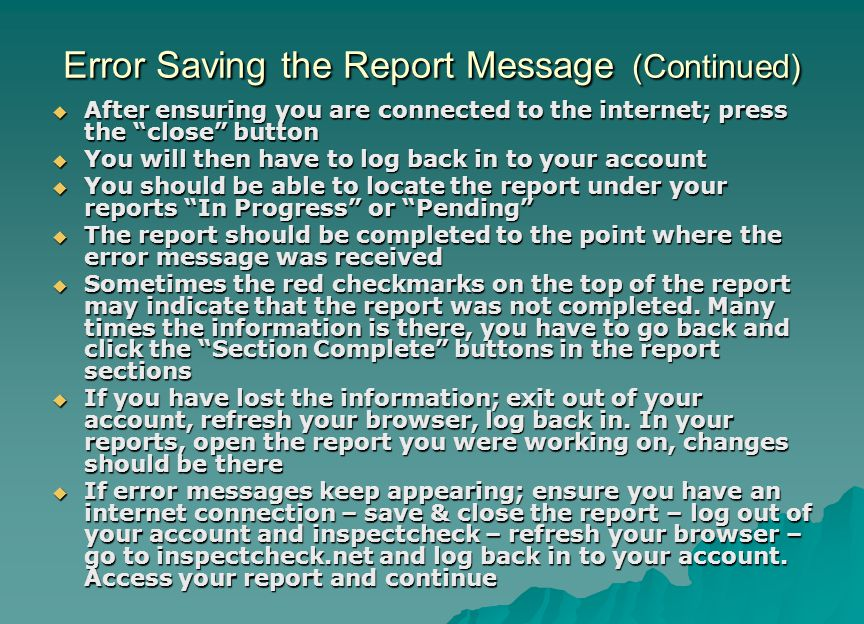 Error Saving the Report Message (Continued)