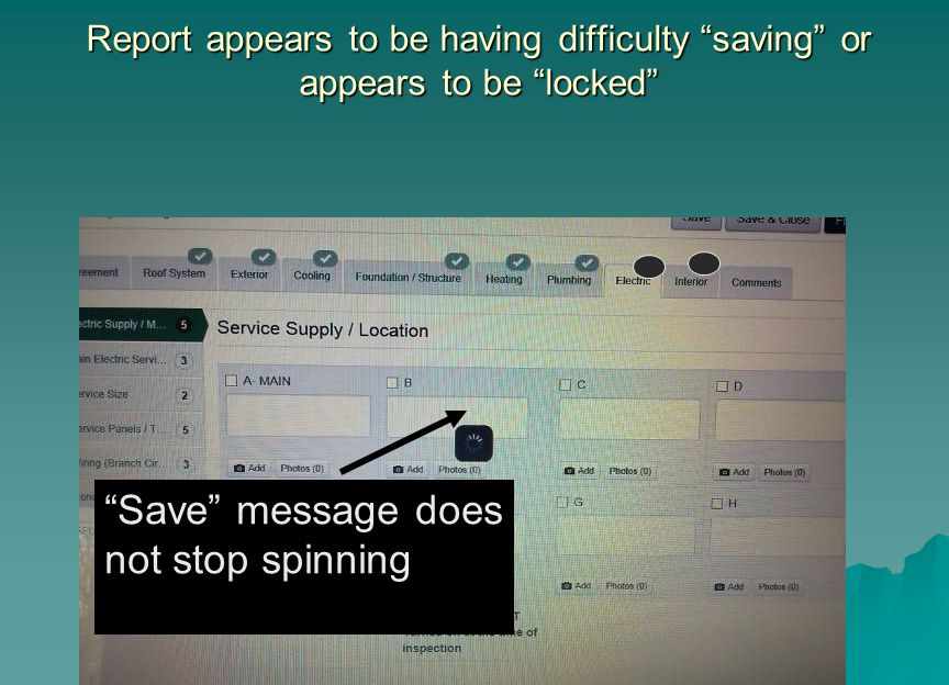 Save message does not stop spinning