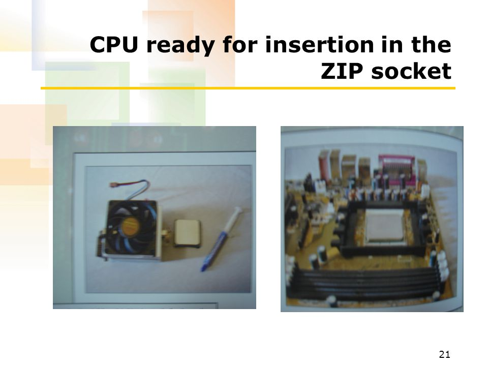 CPU ready for insertion in the ZIP socket