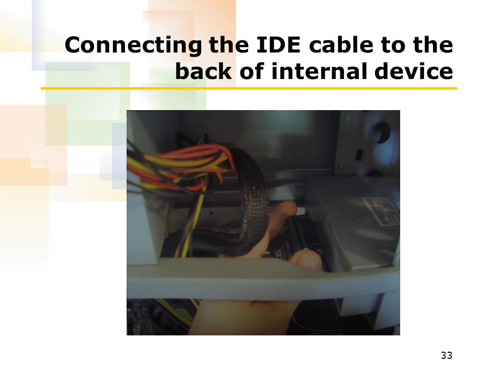 Connecting the IDE cable to the back of internal device