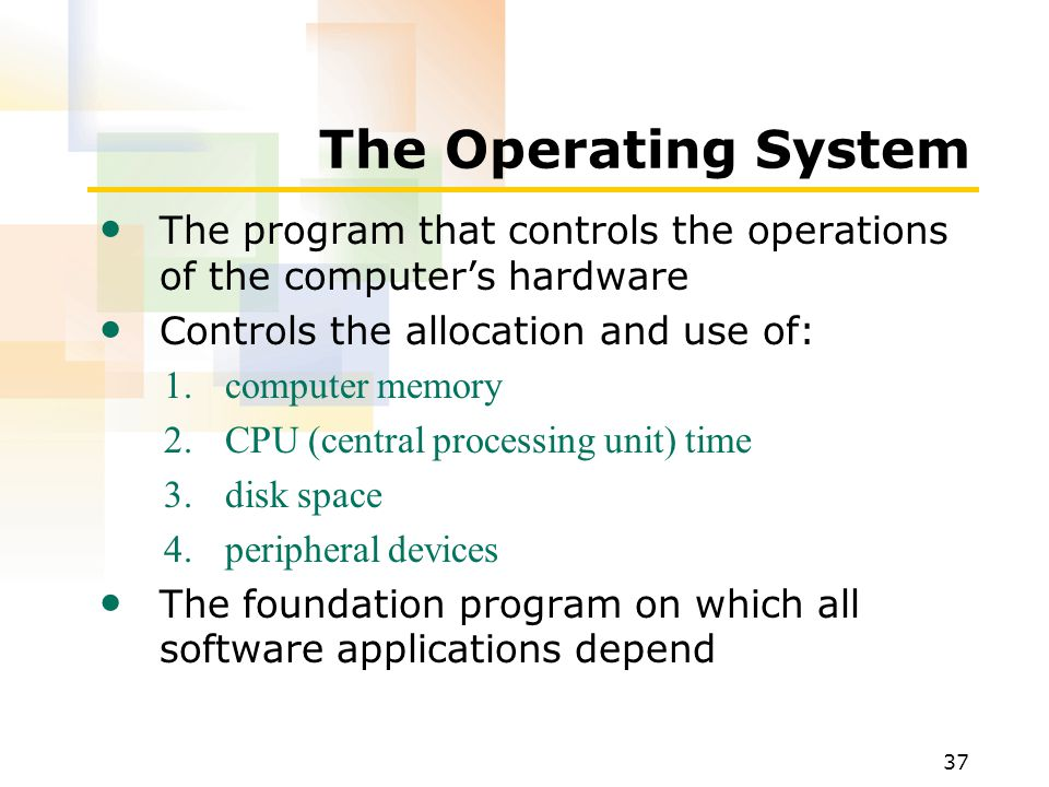 The Operating System The program that controls the operations of the computer's hardware. Controls the allocation and use of: