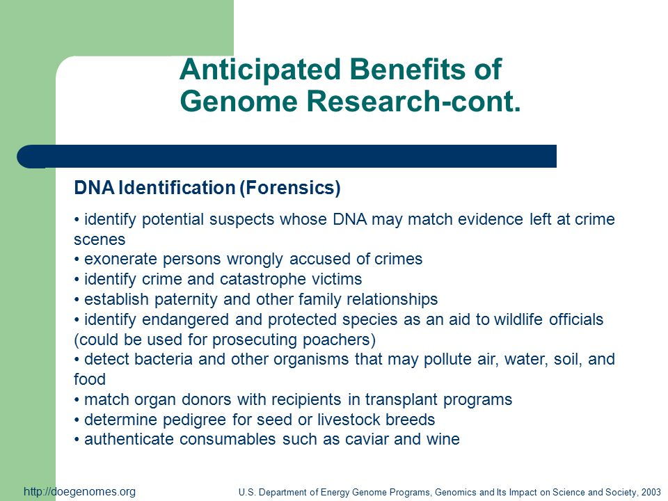 Anticipated Benefits of Genome Research-cont.