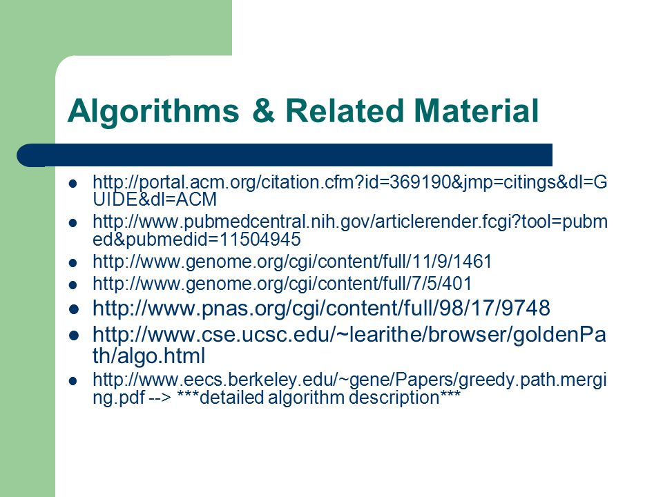 Algorithms & Related Material