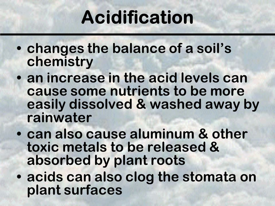 Acidification changes the balance of a soil's chemistry