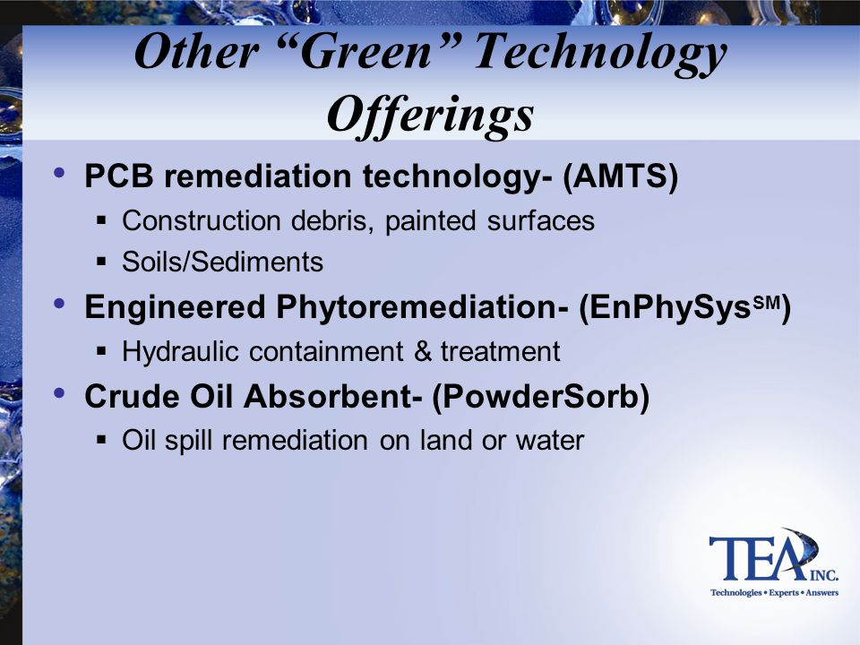 Other Green Technology Offerings