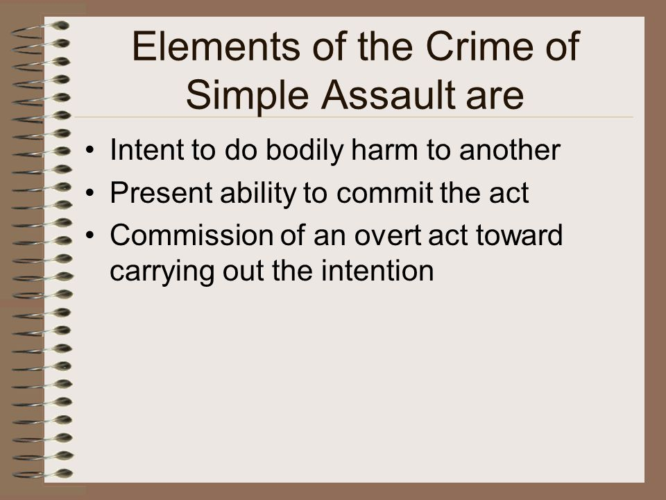 Elements of the Crime of Simple Assault are