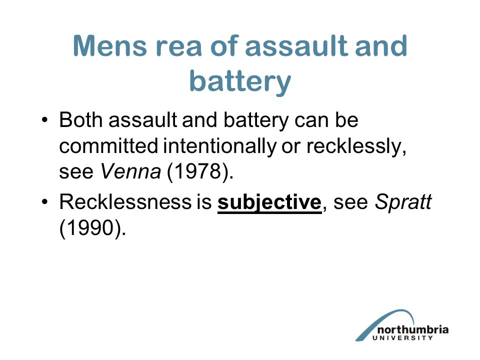 Mens rea of assault and battery