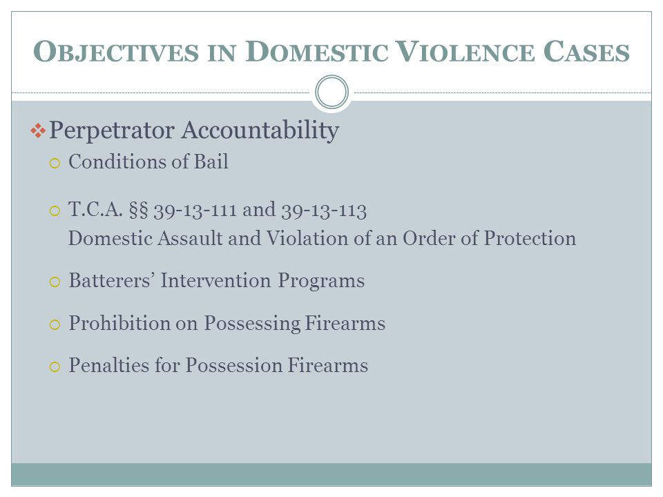 Objectives in Domestic Violence Cases