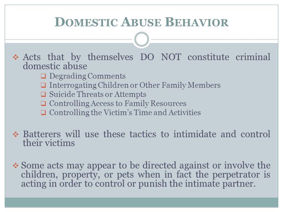 Domestic Abuse Behavior