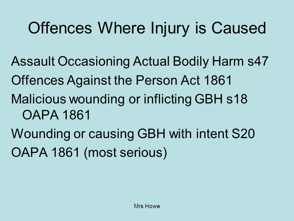 Offences Where Injury is Caused
