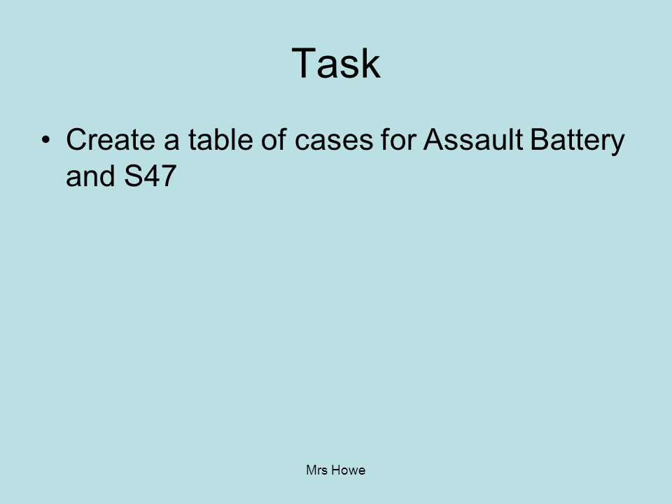 Task Create a table of cases for Assault Battery and S47 Mrs Howe