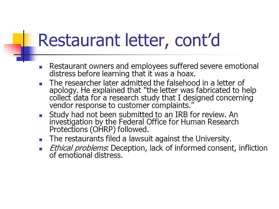 Restaurant letter, cont'd