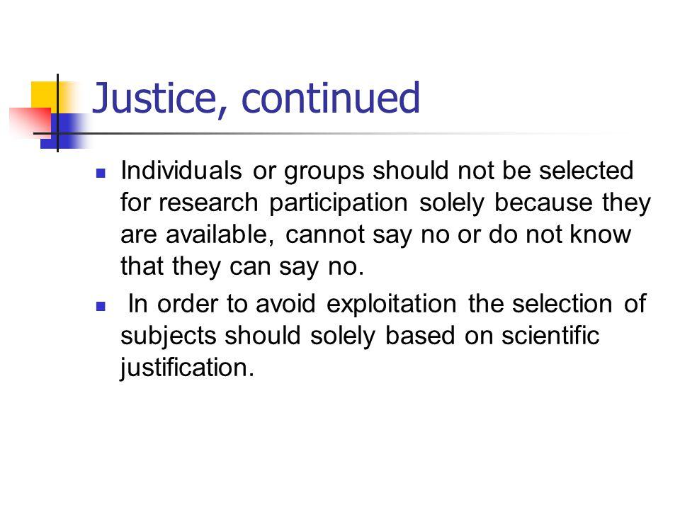 Justice, continued
