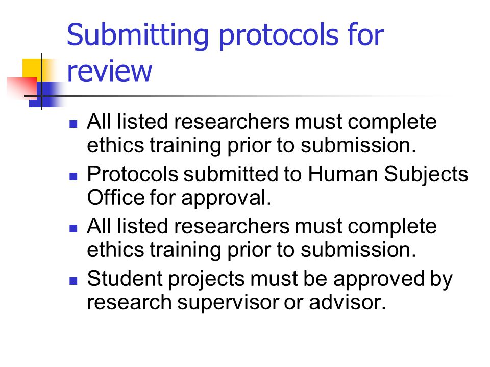 Submitting protocols for review