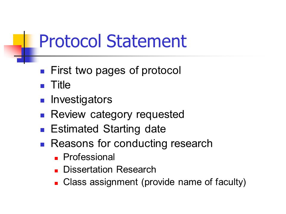 Protocol Statement First two pages of protocol Title Investigators