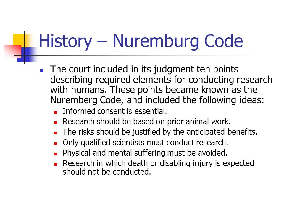History – Nuremburg Code