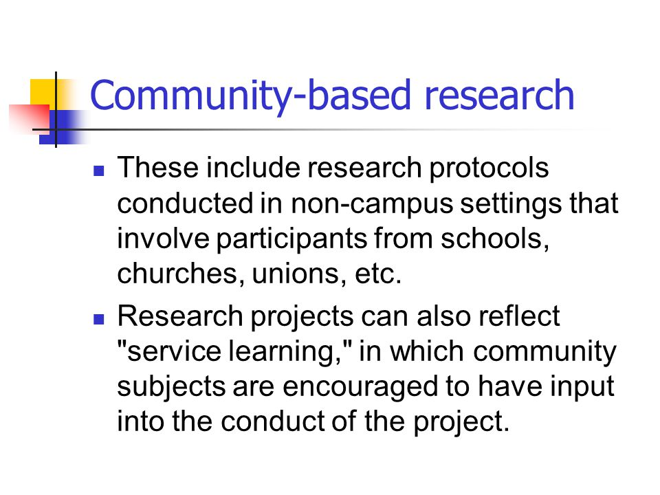 Community-based research