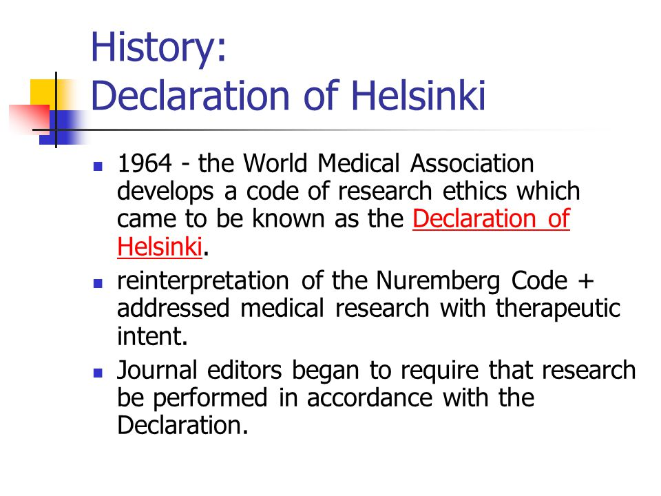 History: Declaration of Helsinki