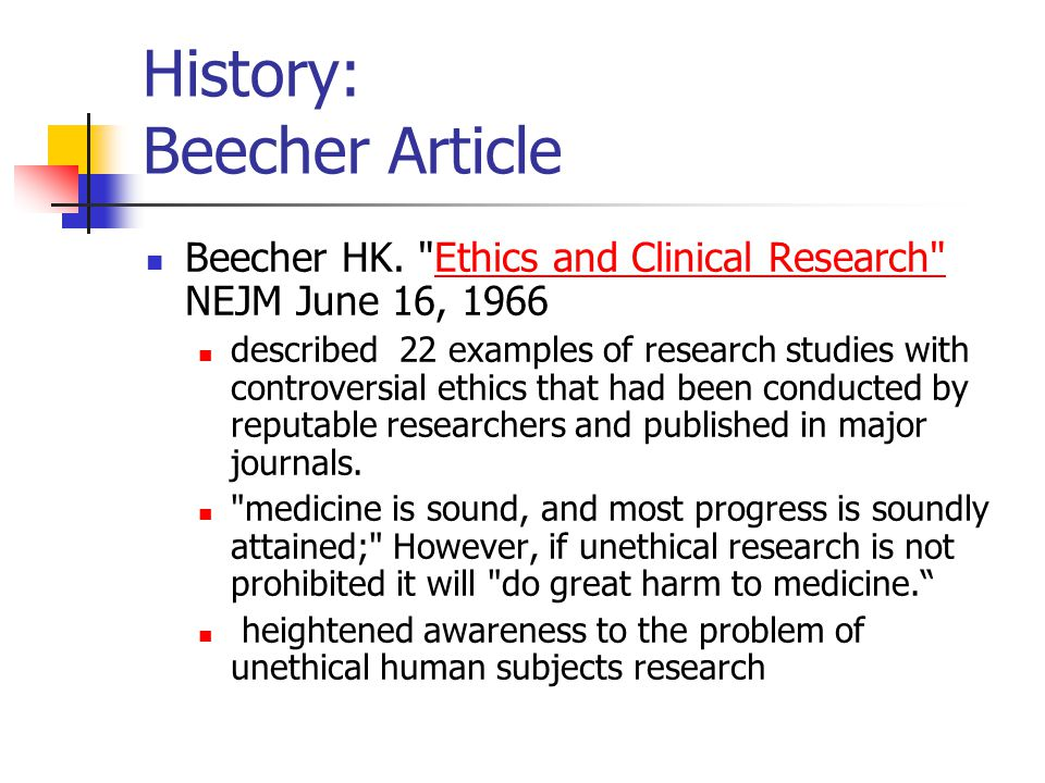 History: Beecher Article