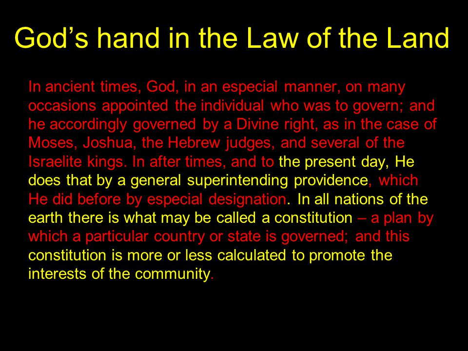 God's hand in the Law of the Land