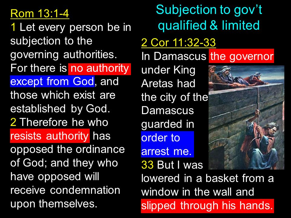 Subjection to gov't qualified & limited Rom 13:1-4