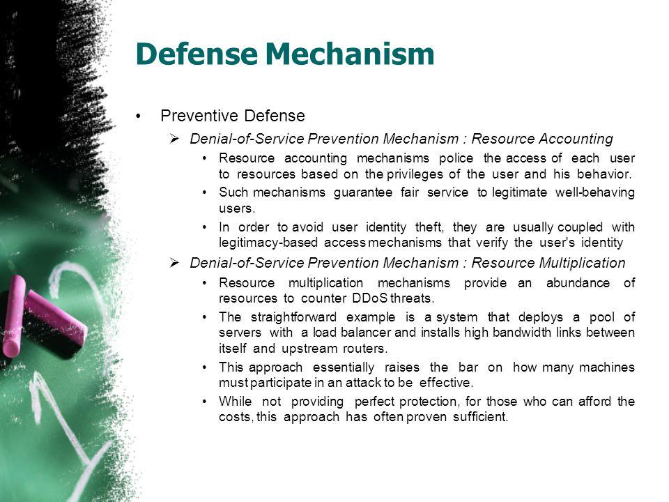 Defense Mechanism Preventive Defense