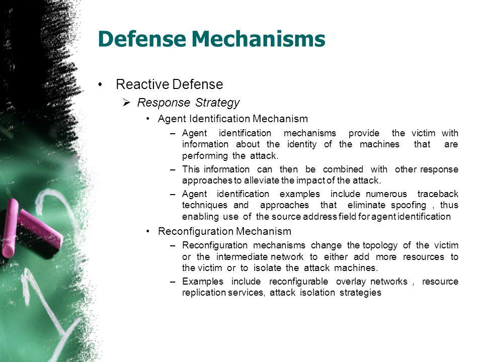 Defense Mechanisms Reactive Defense Response Strategy