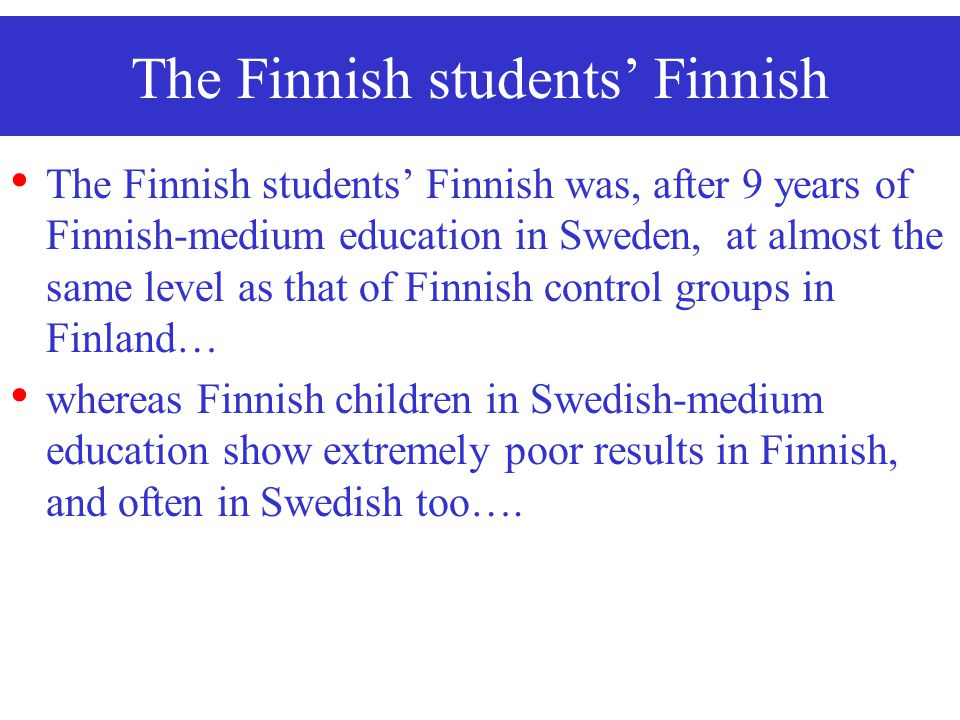 The Finnish students' Finnish