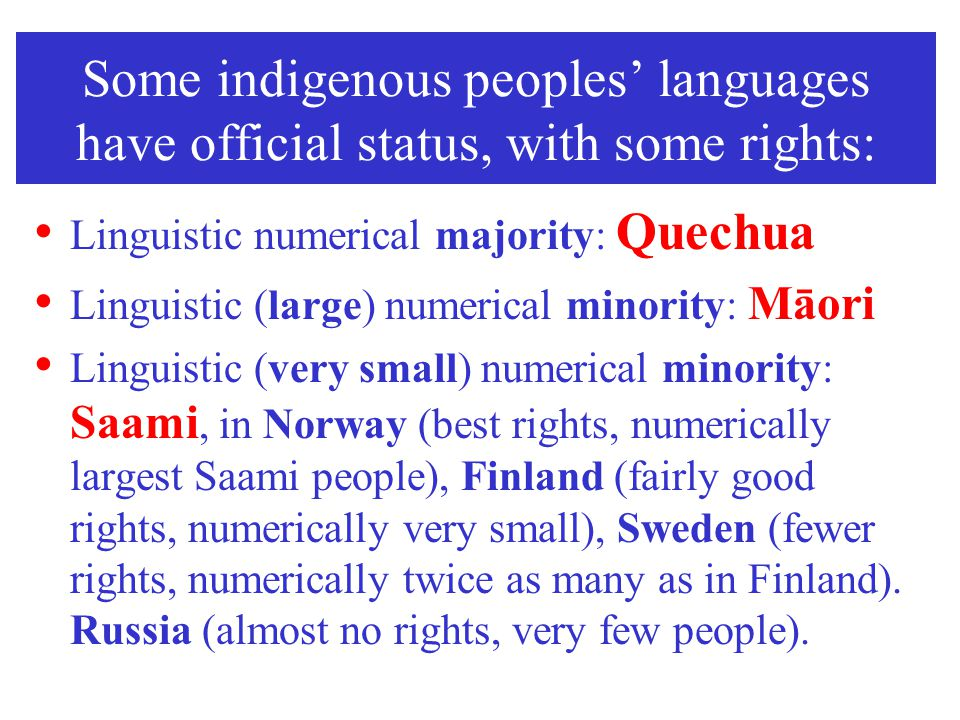 Some indigenous peoples' languages have official status, with some rights: