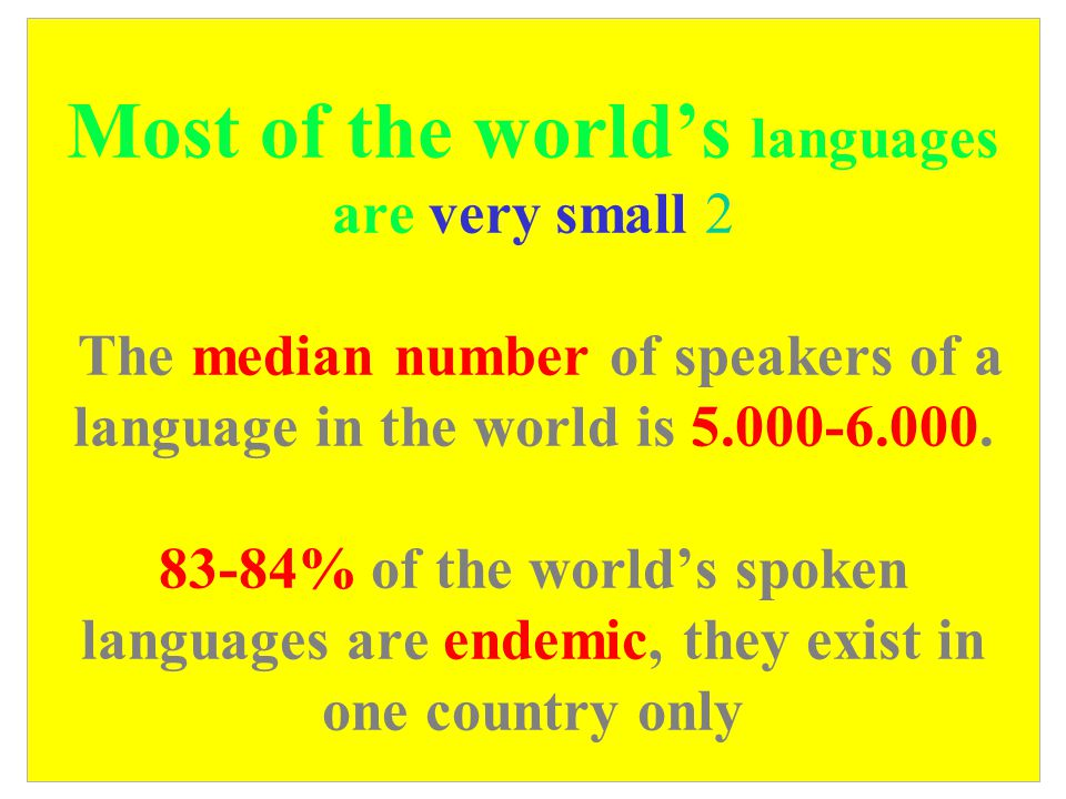 Most of the world's languages are very small 2 The median number of speakers of a language in the world is 5.000-6.000.
