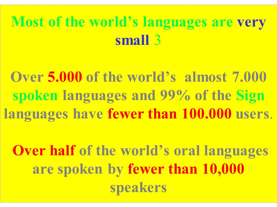 Most of the world's languages are very small 3 Over 5