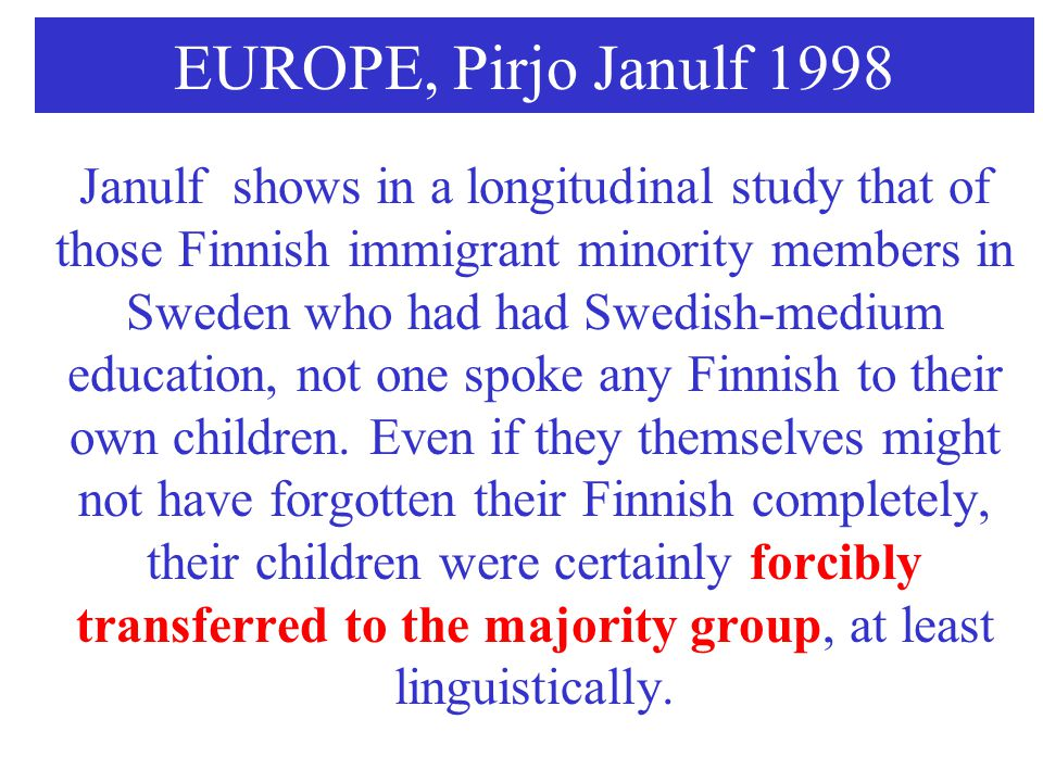EUROPE, Pirjo Janulf 1998