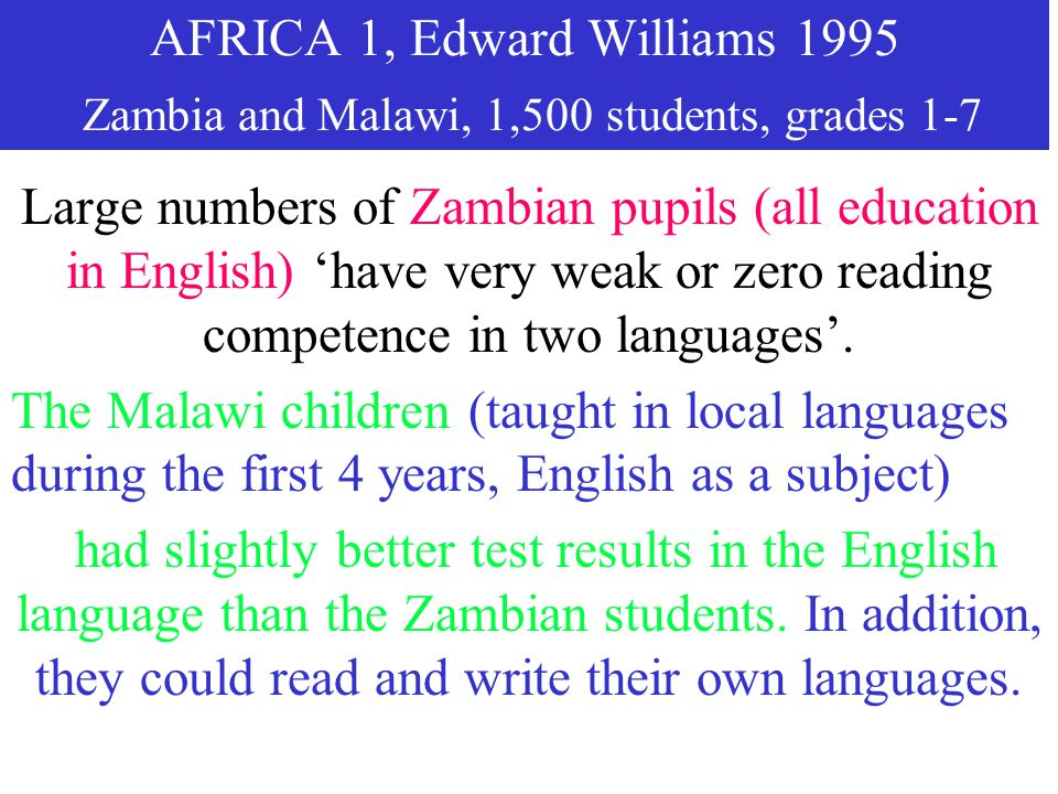 AFRICA 1, Edward Williams 1995 Zambia and Malawi, 1,500 students, grades 1-7