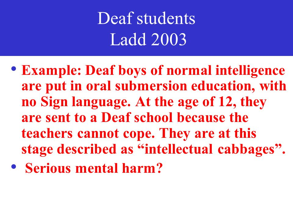Deaf students Ladd 2003