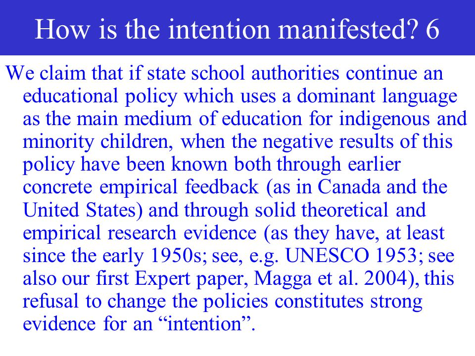 How is the intention manifested 6