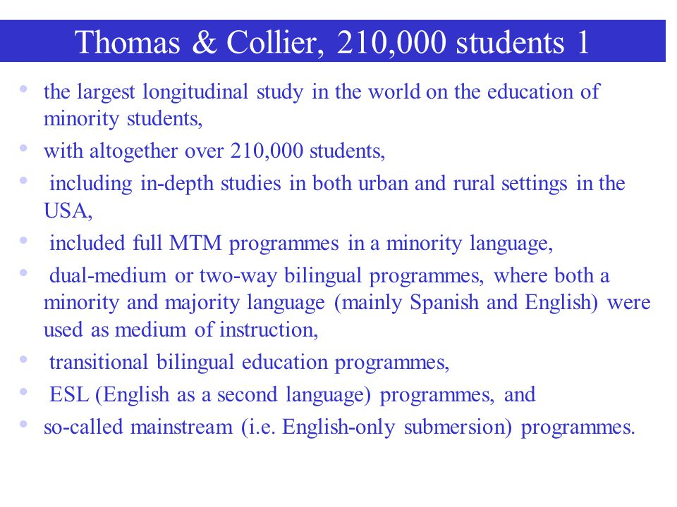 Thomas & Collier, 210,000 students 1