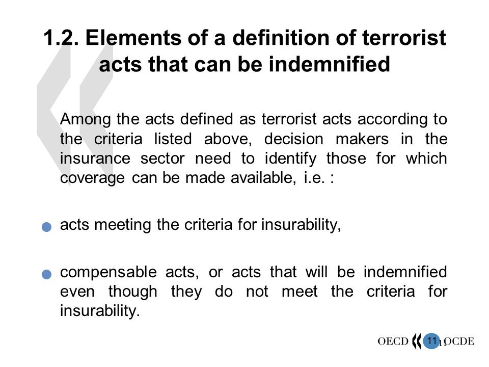 1.2. Elements of a definition of terrorist acts that can be indemnified
