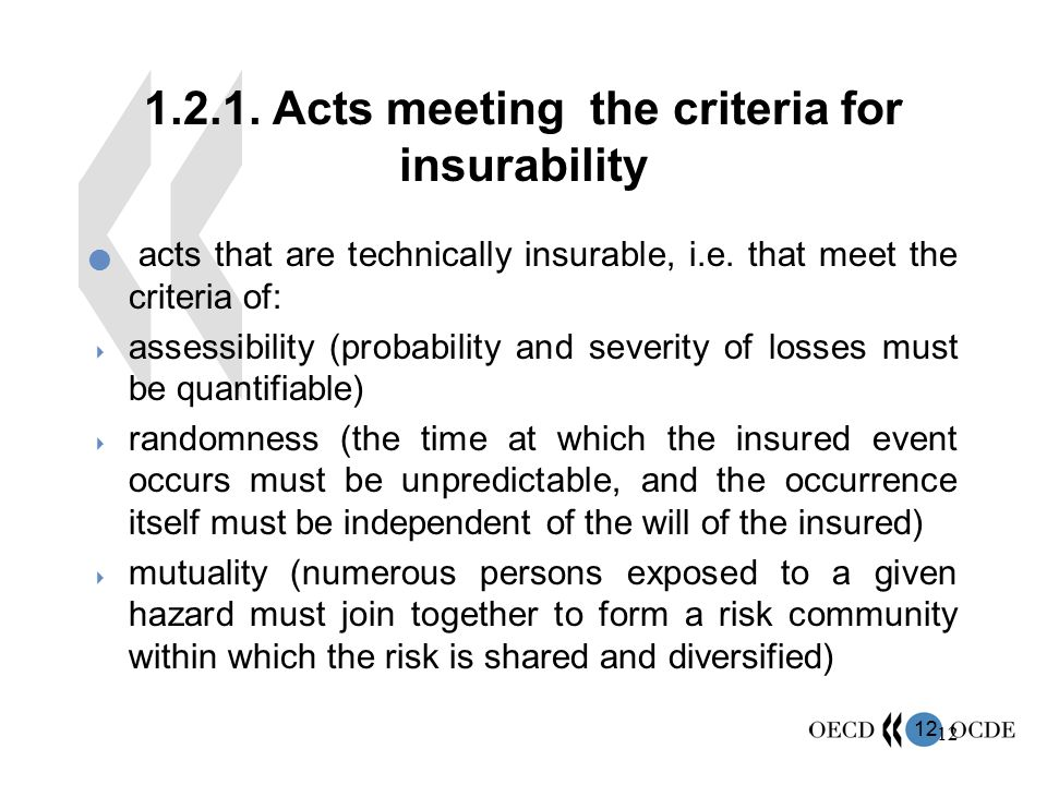 1.2.1. Acts meeting the criteria for insurability
