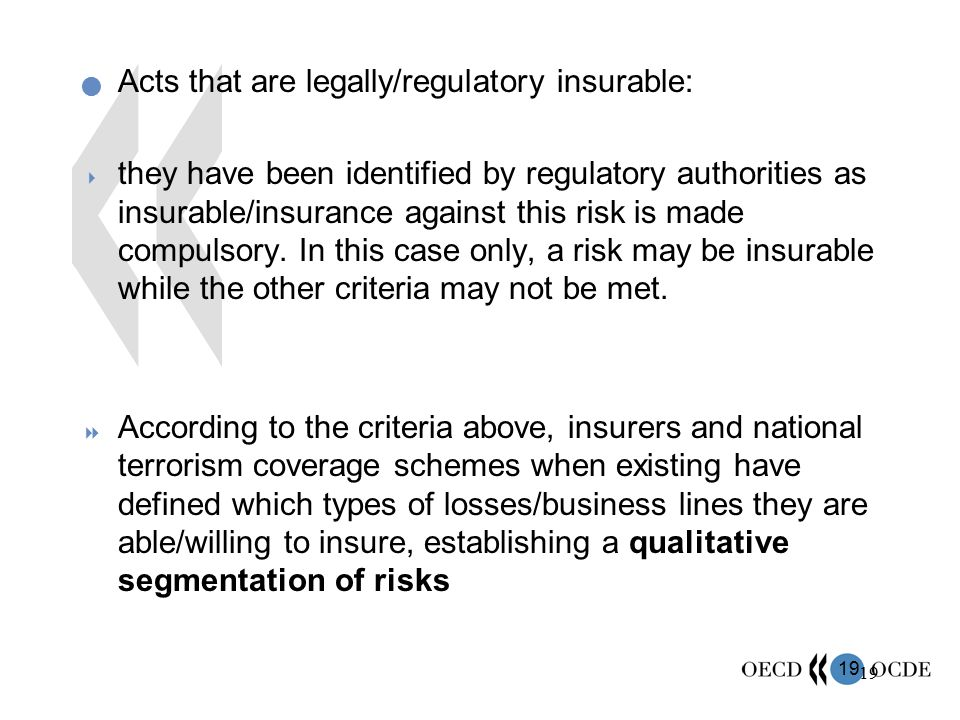 Acts that are legally/regulatory insurable: