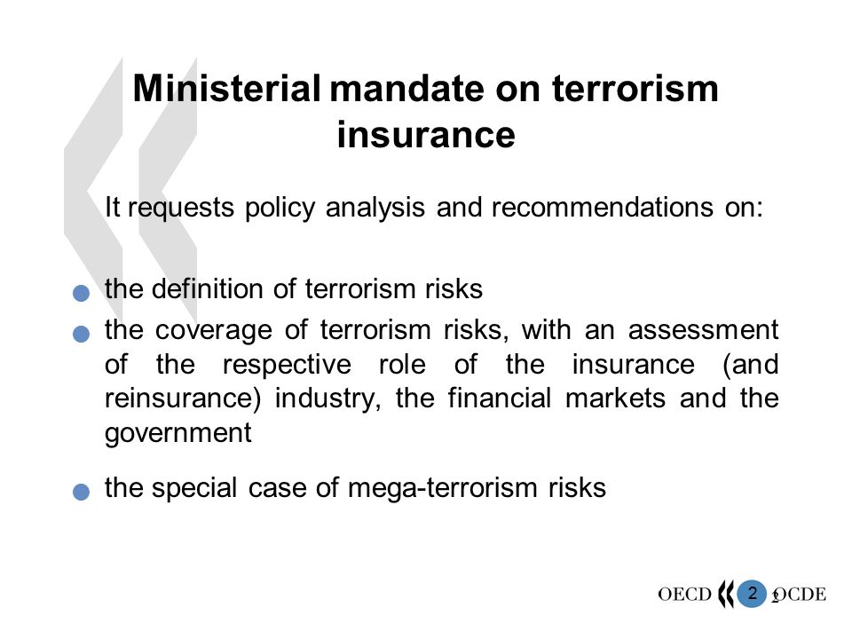 Ministerial mandate on terrorism insurance