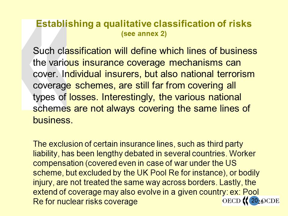Establishing a qualitative classification of risks (see annex 2)