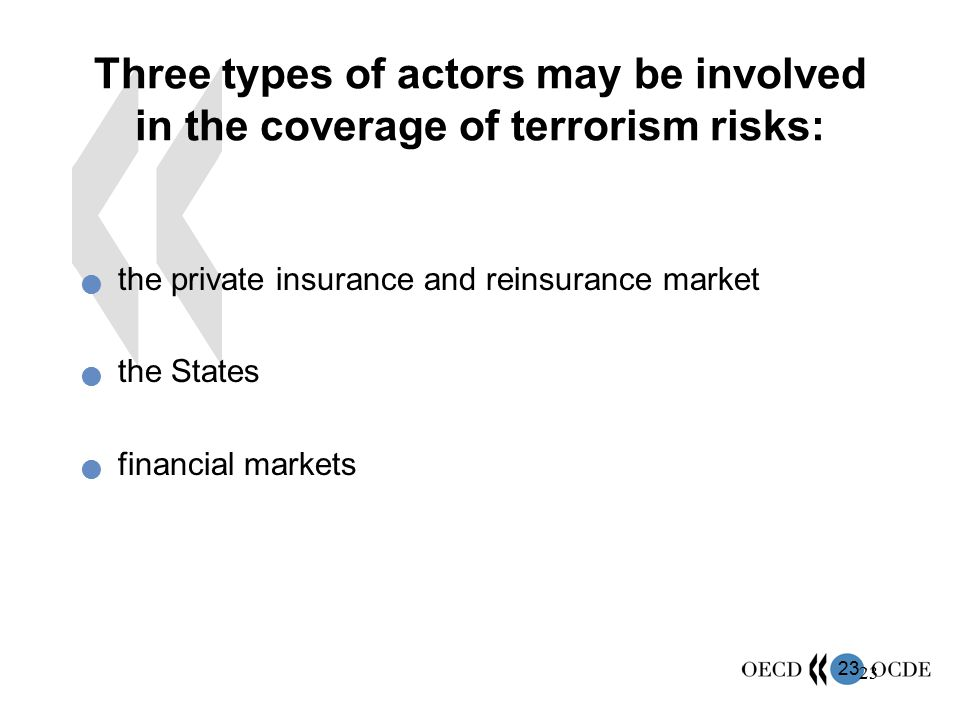 Three types of actors may be involved in the coverage of terrorism risks: